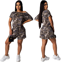 Fashion Camouflage Print Loose-Fitting Lace-Up Romper FSL-088