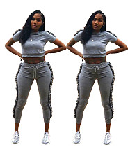 Black Fungus Side Exposed Belly Short Sleeve Straight Tube Pants Two-piece Set KDN-1172