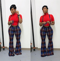 Women Plaid Suspender Jumpsuit Trumpet Pants OD-8228