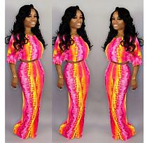 Fashion Tie-Dye Short Sleeve Loose Wide Leg Two-Piece Set OM-1113