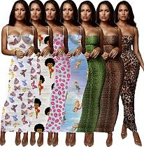 Stylish Printed Strapless Straps Skinny Maxi Summer Dress YF-9512