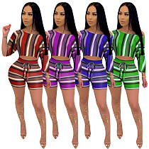 Multicolor Striped Printed Mid-Sleeve Shorts Two Pieces YD-8075