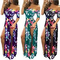 One-Shoulder Digital Print Split High-Waisted Dress SH-3074
