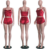 Solid Color Hollow Out Sexy Slim Velvet Lace Two-piece Set SH-3431