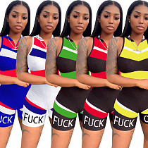 Women's Fashion Zipper Neck Sleeveless Tight Sports Rompers YD-8200