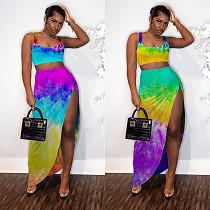 Sexy Tie-Dye Digital Print Vest + Irregular Slit Skirt Two-piece Set MN-9243