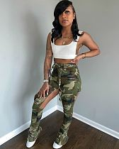 Fashion Ripped Straight Tube Camouflage Overalls With Belt LSD-8713