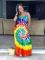 Fashionable Contrast Printing Loose Floor-Length Halter Dress YS-8348