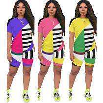 Geometric Stripe Color Contrast Short Sleeve Leisure Two - piece Set ASL-6263