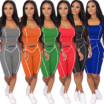 Sexy Solid Color Stitching Sports Vest and Shorts Two-piece Set WY-6641