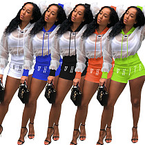 Multicolor Fashion Stitching See-Through Hoodie + Shorts Two-piece Set MOF-8811