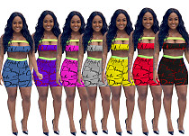 Monogrammed Holloout Bodice + Tight Shorts Two-piece Set DM-8121