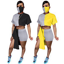 Color Contrast Short Sleeve Irregular Splicing Two-piece Set  Without Mask YIS-845