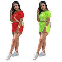 Solid Color Elasticized Collar One-word Shoulder Strap Top and Sport Shorts Set YUM-9008