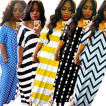 Loose Striped Wavy Dot Print Irregular Slit Maxi Dress OMY-8052