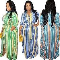 Large Size Striped Printed Cardigan Loose Dress with belt OSS-20733