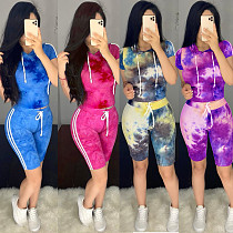 Casual Short Sleeved Hoodie Sports Shorts Two-piece Set BY-3572