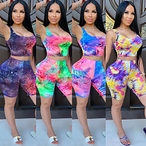 Casual Tie-Dye Printed Sport Vest and Shorts Two-piece Set TK-6087