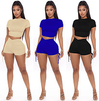 Sexy Solid Color Drawstring Strap Shorts Two-piece Set WZ-8271