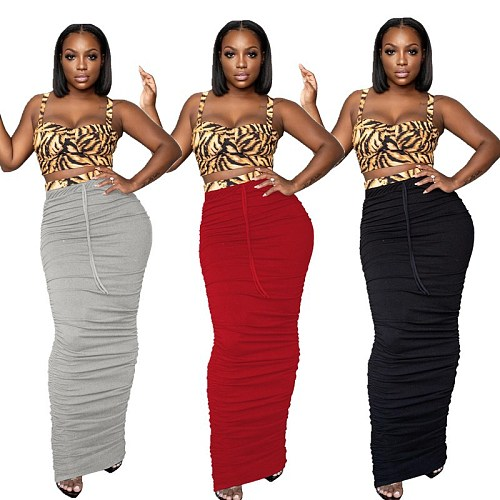 Sexy Solid Color Slim Pleated Strappy Bodycon Dress SMD-2027