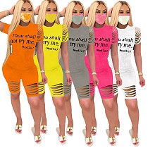 Fashion Alphabet Offset Printing Burnt Short Sleeve Two - piece Set SD-2636