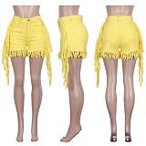 Hot Style Fringed Mid - Waist Straight Leg Short Jeans ME-561