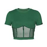 Sexy Transparent Round Neck Short Sleeve Tight Tshirt ZS-0274