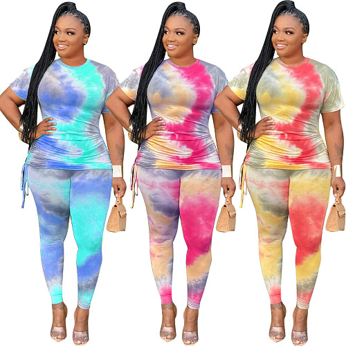 Plus Size Colorful Printing Pleated Short Sleeve Two-Piece Set HEJ-6006