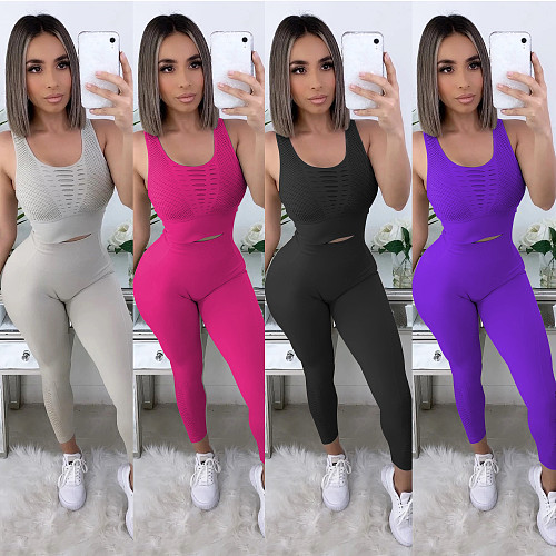 Fashion Tank Top + Tight Pants Yoga Suit Two-piece Set BY-3556