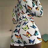 Plus Size Hot Sales Skinny Sexy Printed Long Sleeve Onesies RS-5145