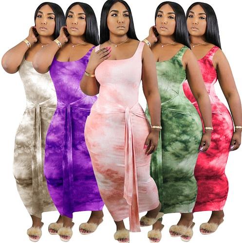 New Tie-Dye Round Neck Sleeveless Plus-Size Dress HGL-1361