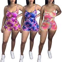 Casual Color Print Medium Waist Tight Condole Belt Romper JH-167