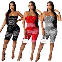 Hot Sales Printed Sleeveless Wrap Bra Slimmer Romper NIK-133