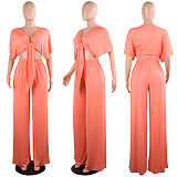 Sexy Bandage Deep V Wide Leg Pants Two Piece Nightclub Suit NY-7003