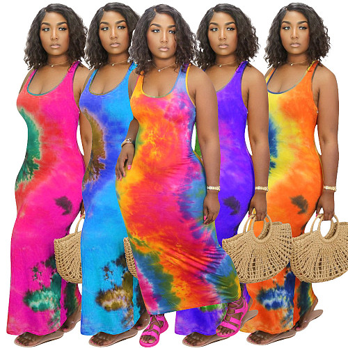 Stylish Tie-Dye Plus Size Round-Neck Sleeveless Dress HGL-1352