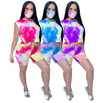 Casual Tie-Dye Printed T-shirt and Shorts Two-piece Set With Mask GS-1831
