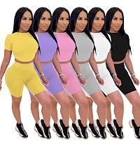 Hot Style Backless Lace-up Short Sleeve Shorts Two-piece Set IV-8087