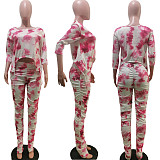 Tie-Dye Lift Buttock Slim-Cut Flared Trousers Two-piece Set TK-6089