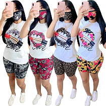 Casual Lip Printed T-shirt Sport Shorts Two-piece Set OY-6188