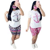 Print Short Sleeve T-shirt Casual Shorts Set of 2 Pieces YIM-8116
