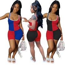 Color Contrast Milk Silk Tight Sleeveless Yoga Romper CHY-1239