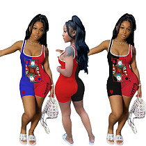 Contrasting Poker Printed Sleeveless Tight Midriff Romper CHY-1241