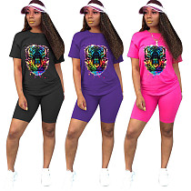Cotton Print Tiger Head Solid Color Short-sleeved Shorts Two-piece Set MYP-8919