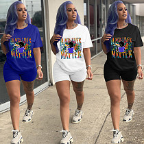 Catchphrase Short Sleeved Sports Shorts Two-piece Set MOY-5220