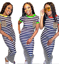 Striped Leopard-print Pocket Print Round Neck Dress MUM-5039