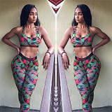Multicolor Print Strapless Vest Slimming Trousers Two-piece Set LSL-8046