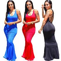 Solid Color Sexy Back Cut Multiple Condole Belt Splicing Dress LS-0307