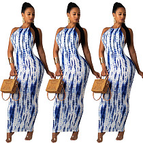 Fashionable White and Blue print Round Neck Slimming Dress MLS-8050