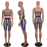 Classic Multi - Color Stripe Chest Wipe + Straight Shorts Two-piece Set MLS-8014