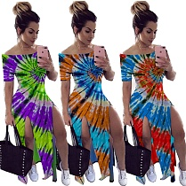 Hot-selling Tie-Dye One-Shouldered Irregular-Cut Dresses CYAO-8549